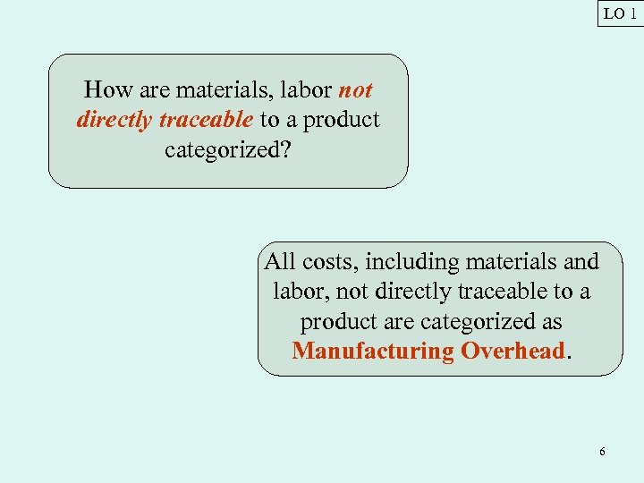 LO 1 How are materials, labor not directly traceable to a product categorized? All