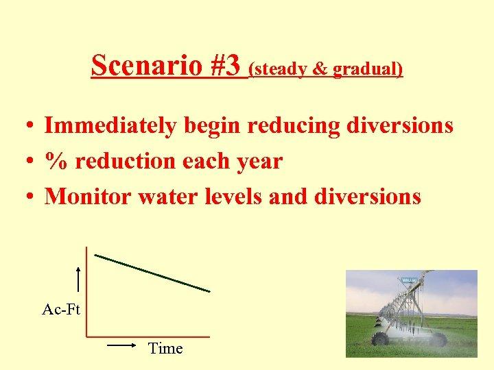 Scenario #3 (steady & gradual) • Immediately begin reducing diversions • % reduction each