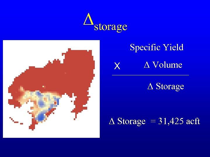 Δstorage Specific Yield X Δ Volume Δ Storage = 31, 425 acft