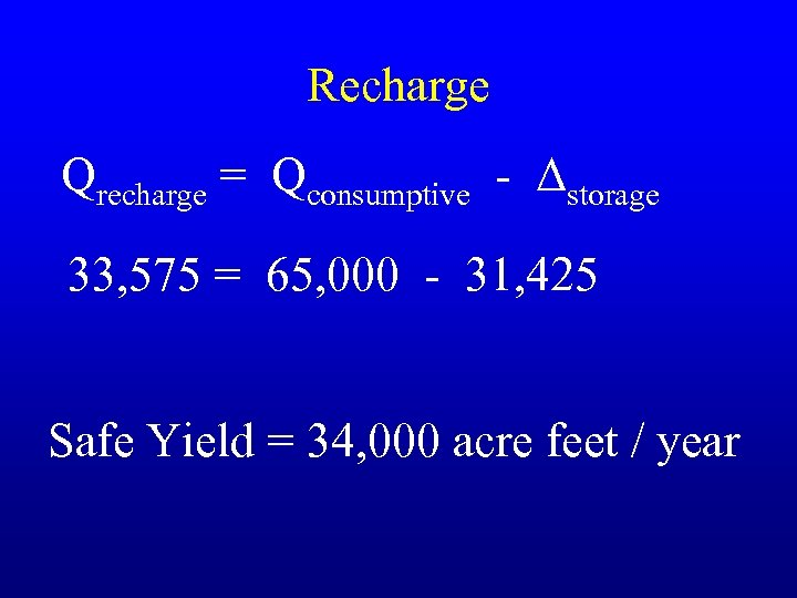 Recharge Qrecharge = Qconsumptive - Δstorage 33, 575 = 65, 000 - 31, 425
