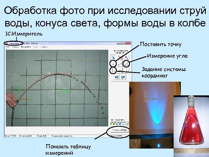 Обработка фото при исследовании струй воды, конуса света, формы воды в колбе 1 С: