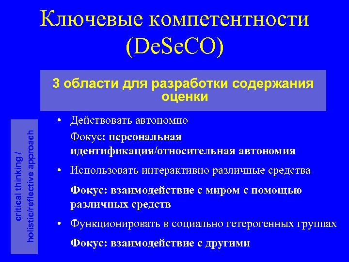 Ключевые компетентности (De. Se. CO) critical thinking / holistic/reflective approach 3 области для разработки