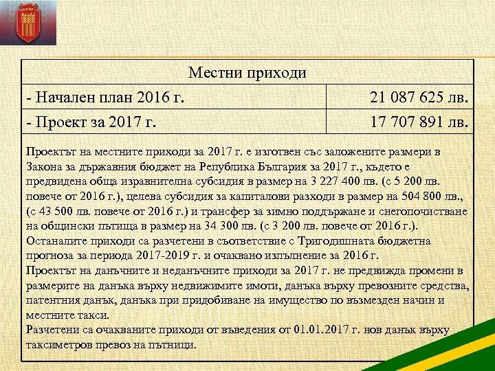Местни приходи - Начален план 2016 г. 21 087 625 лв. - Проект за