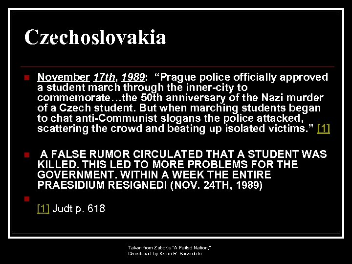 """Czechoslovakia n November 17 th, 1989: """"Prague police officially approved a student march through"""