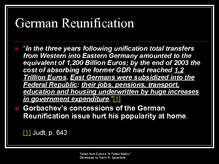 """German Reunification n """"In the three years following unification total transfers from Western into"""