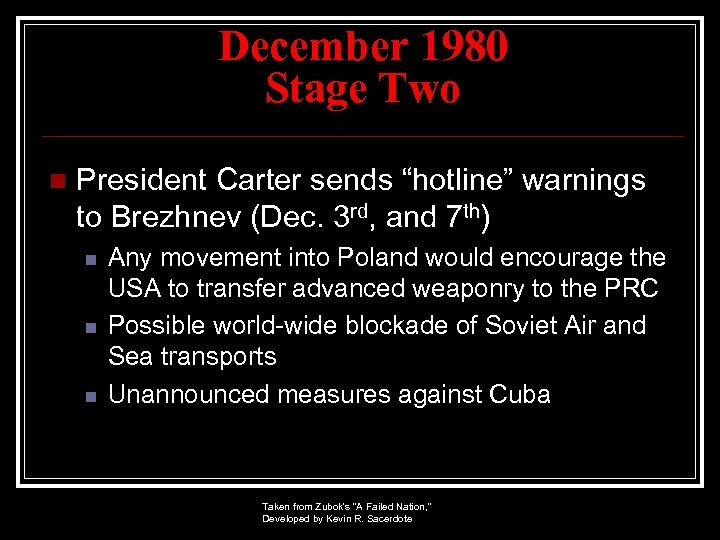 "December 1980 Stage Two n President Carter sends ""hotline"" warnings to Brezhnev (Dec. 3"