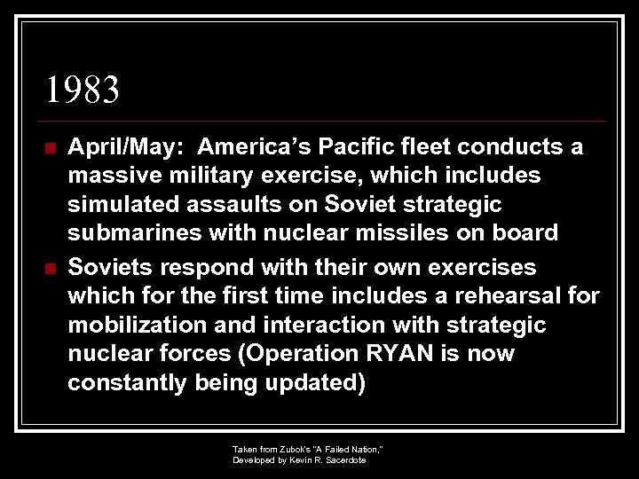 1983 n n April/May: America's Pacific fleet conducts a massive military exercise, which includes