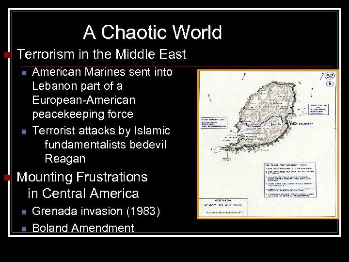 A Chaotic World n Terrorism in the Middle East n n n American Marines
