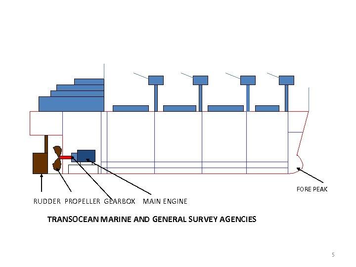FORE PEAK RUDDER PROPELLER GEARBOX MAIN ENGINE TRANSOCEAN MARINE AND GENERAL SURVEY AGENCIES 5