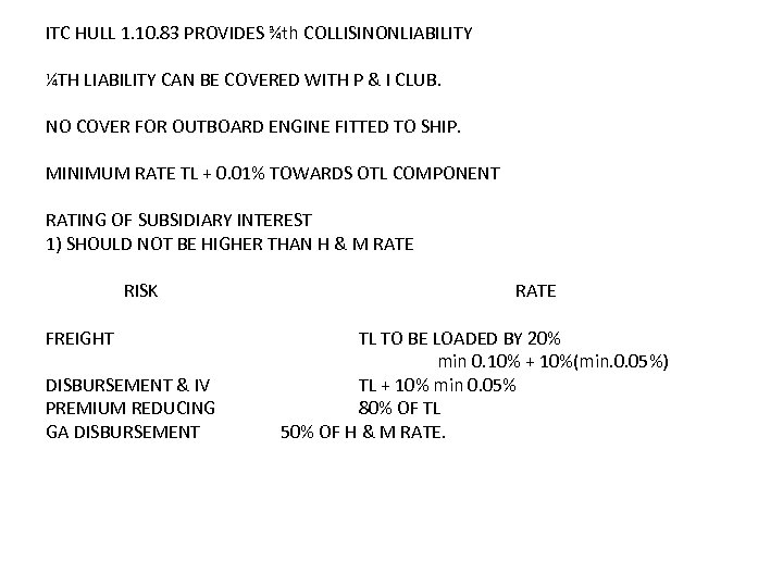 ITC HULL 1. 10. 83 PROVIDES ¾th COLLISINONLIABILITY ¼TH LIABILITY CAN BE COVERED WITH