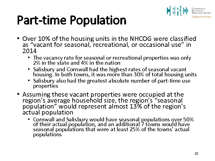 Part-time Population • Over 10% of the housing units in the NHCOG were classified