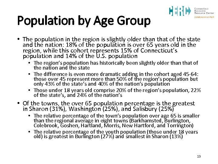 Population by Age Group • The population in the region is slightly older than