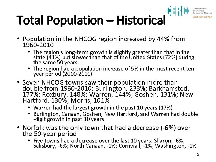 Total Population – Historical • Population in the NHCOG region increased by 44% from