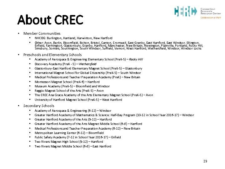 About CREC • Member Communities • • NHCOG: Burlington, Hartland, Harwinton, New Hartford Other: