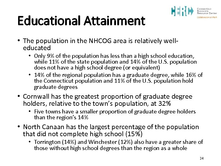 Educational Attainment • The population in the NHCOG area is relatively welleducated • Only