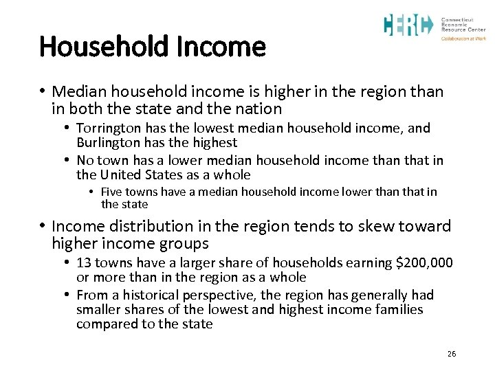 Household Income • Median household income is higher in the region than in both