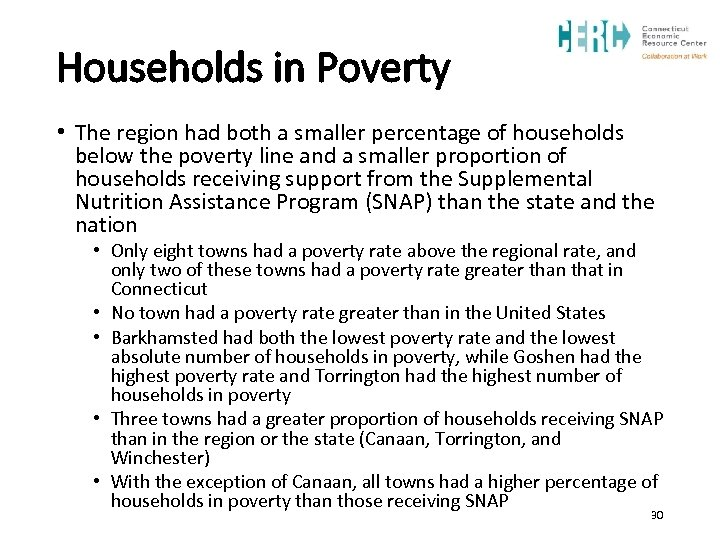 Households in Poverty • The region had both a smaller percentage of households below