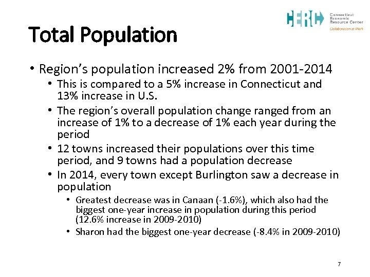 Total Population • Region's population increased 2% from 2001 -2014 • This is compared
