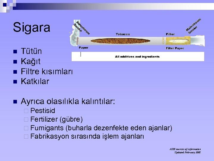 Sigara n Tütün Kağıt Filtre kısımları Katkılar n Ayrıca olasılıkla kalıntılar: n n n