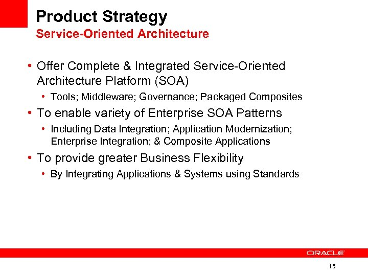 Product Strategy Service-Oriented Architecture • Offer Complete & Integrated Service-Oriented Architecture Platform (SOA) •
