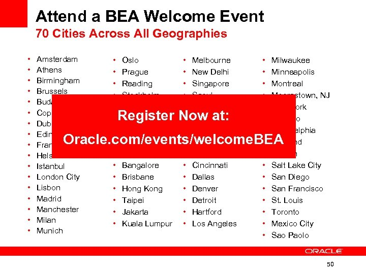 Attend a BEA Welcome Event 70 Cities Across All Geographies • • • •