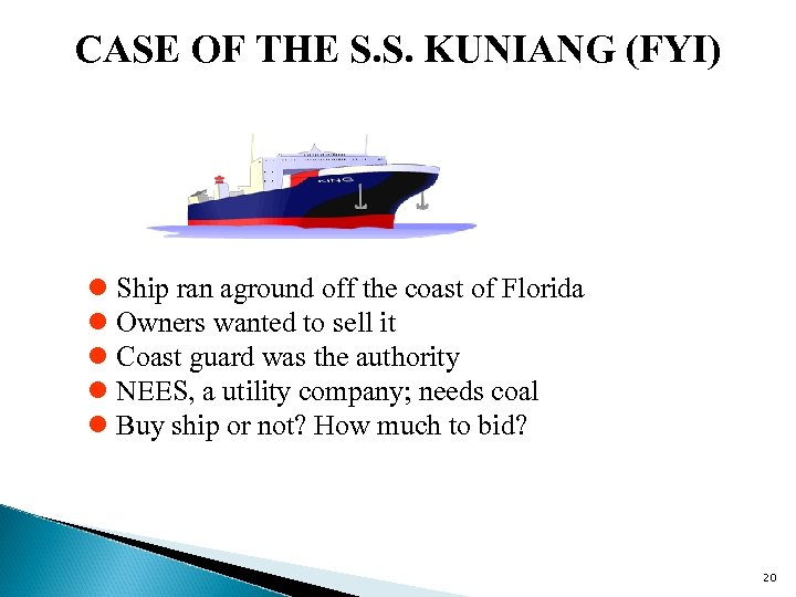 CASE OF THE S. S. KUNIANG (FYI) l Ship ran aground off the coast