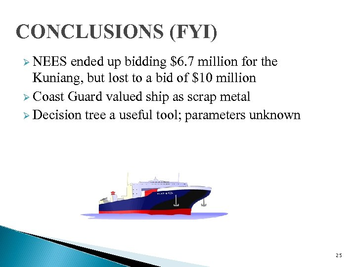 CONCLUSIONS (FYI) Ø NEES ended up bidding $6. 7 million for the Kuniang, but