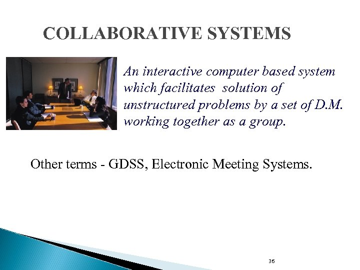 COLLABORATIVE SYSTEMS An interactive computer based system which facilitates solution of unstructured problems by