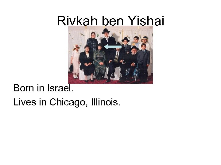 Rivkah ben Yishai Born in Israel. Lives in Chicago, Illinois.