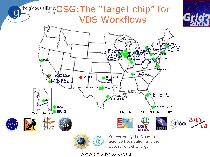 """OSG: The """"target chip"""" for VDS Workflows Supported by the National Science Foundation and"""