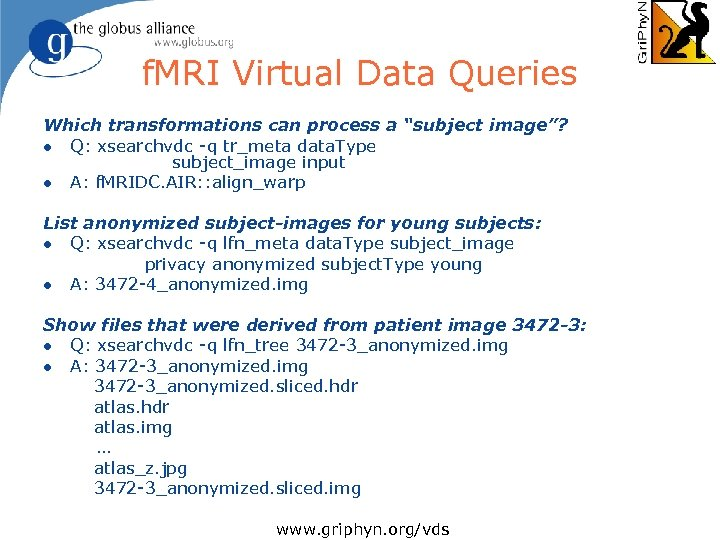 """f. MRI Virtual Data Queries Which transformations can process a """"subject image""""? l Q:"""