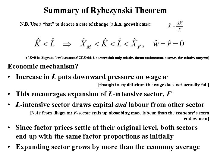 "Summary of Rybczynski Theorem N. B. Use a ""hat"" to denote a rate of"
