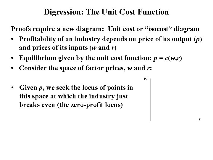 "Digression: The Unit Cost Function Proofs require a new diagram: Unit cost or ""isocost"""