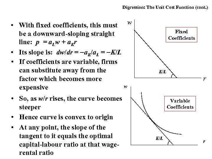 Digression: The Unit Cost Function (cont. ) • With fixed coefficients, this must w