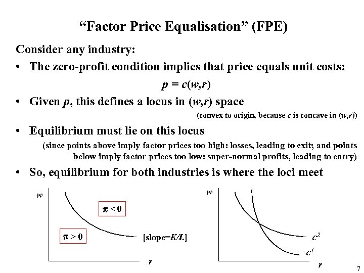 """Factor Price Equalisation"" (FPE) Consider any industry: • The zero-profit condition implies that price"