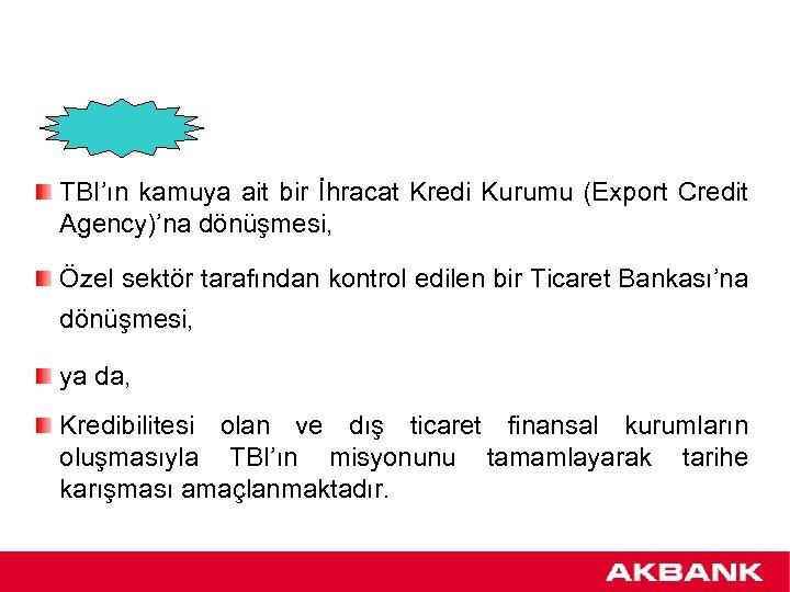TBI'ın kamuya ait bir İhracat Kredi Kurumu (Export Credit Agency)'na dönüşmesi, Özel sektör tarafından