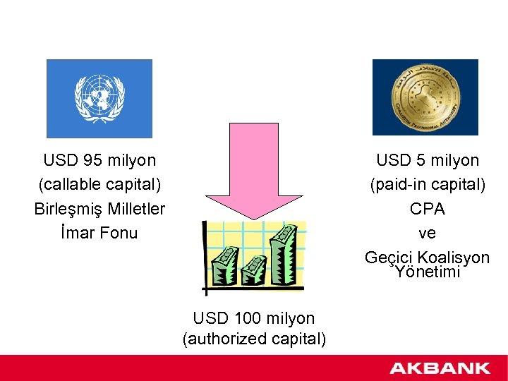 USD 95 milyon (callable capital) Birleşmiş Milletler İmar Fonu USD 5 milyon (paid-in capital)
