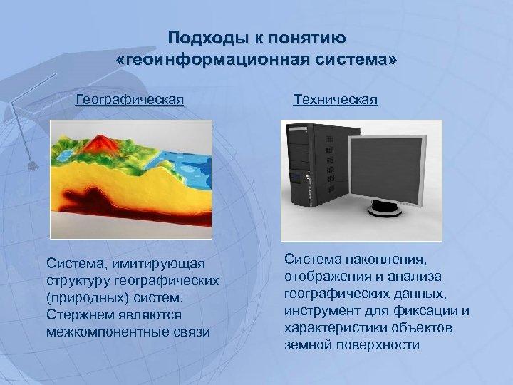 Подходы к понятию «геоинформационная система» Географическая Система, имитирующая структуру географических (природных) систем. Стержнем являются