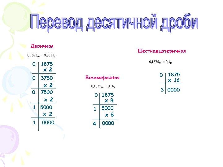 Двоичная 0 1875 0 3750 0 7500 Шестнадцатеричная х 2 Восьмеричная х 2 0