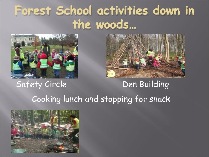 Forest School activities down in the woods… Safety Circle Den Building Cooking lunch and
