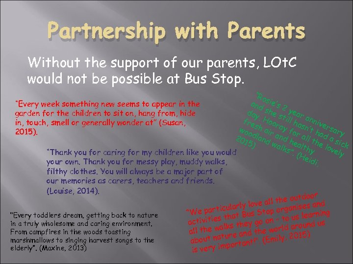 Partnership with Parents Without the support of our parents, LOt. C would not be