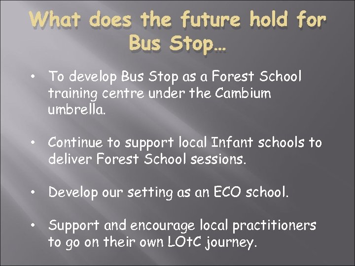 What does the future hold for Bus Stop… • To develop Bus Stop as