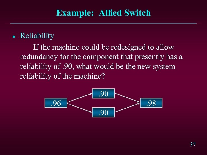 Example: Allied Switch l Reliability If the machine could be redesigned to allow redundancy
