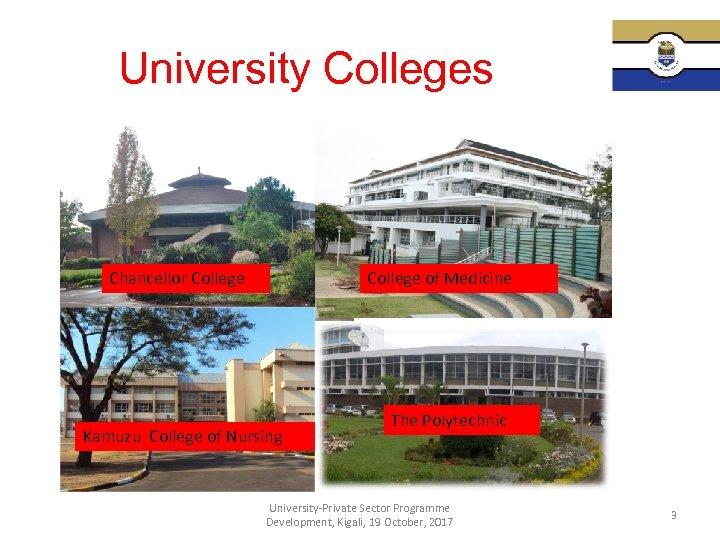 University Colleges Chancellor College of Medicine Kamuzu College of Nursing The Polytechnic University-Private Sector