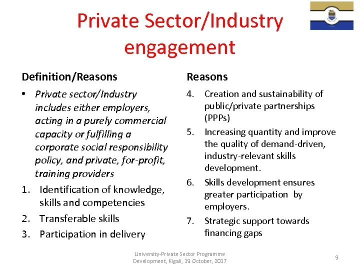 Private Sector/Industry engagement Definition/Reasons • Private sector/Industry includes either employers, acting in a purely