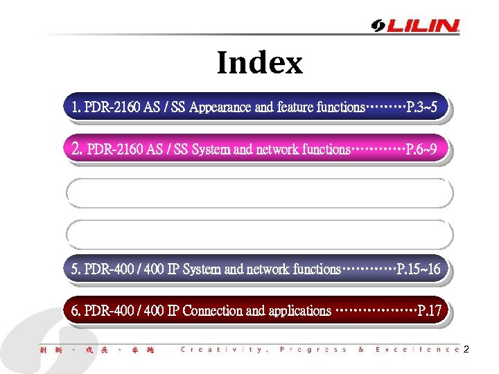 Index 1. PDR-2160 AS / SS Appearance and feature functions………P. 3~5 2. PDR-2160 AS