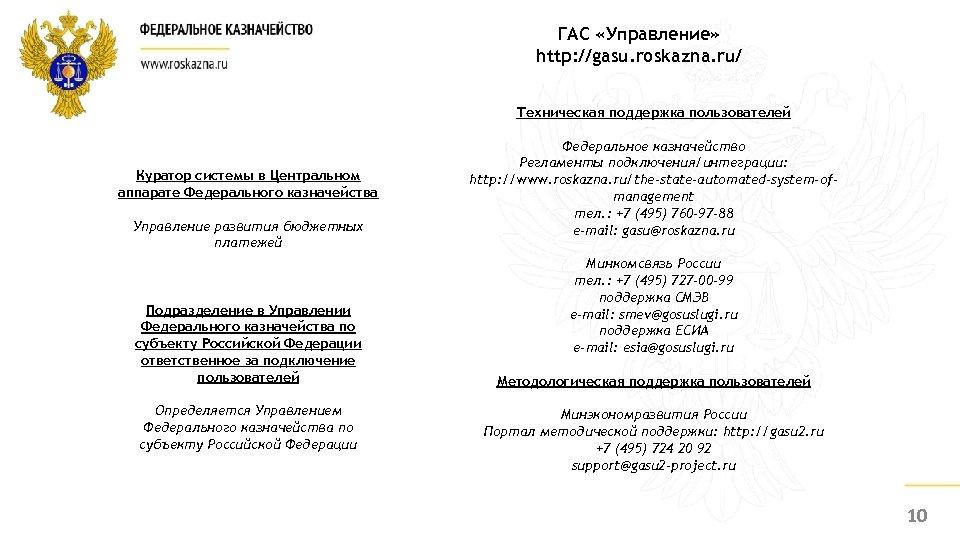 ГАС «Управление» http: //gasu. roskazna. ru/ Техническая поддержка пользователей Куратор системы в Центральном аппарате