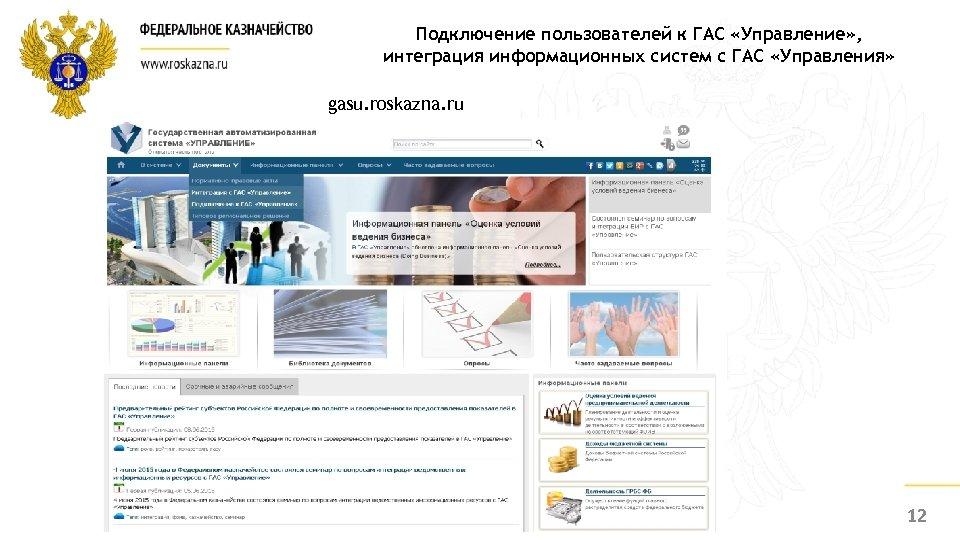 Подключение пользователей к ГАС «Управление» , интеграция информационных систем с ГАС «Управления» gasu. roskazna.