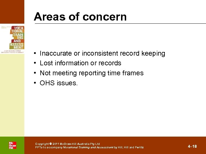Areas of concern • • . Inaccurate or inconsistent record keeping Lost information or