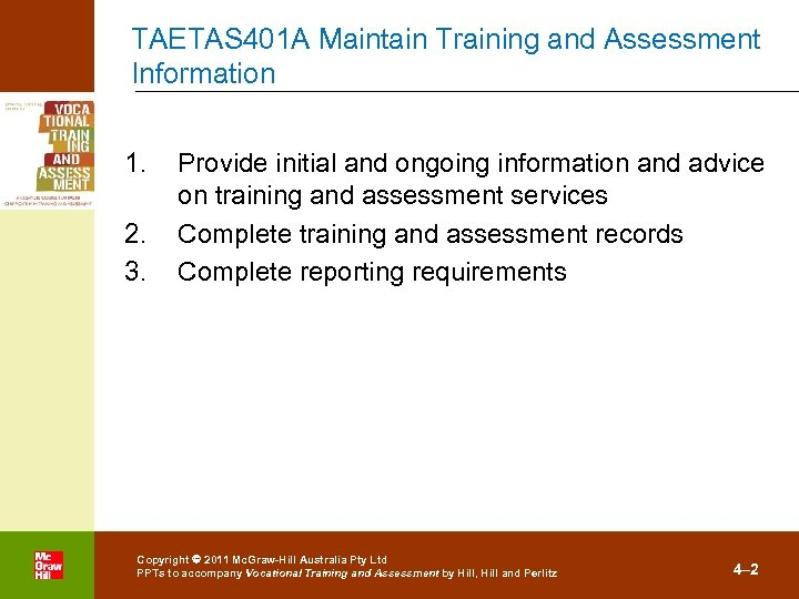 TAETAS 401 A Maintain Training and Assessment Information 1. 2. 3. . Provide initial